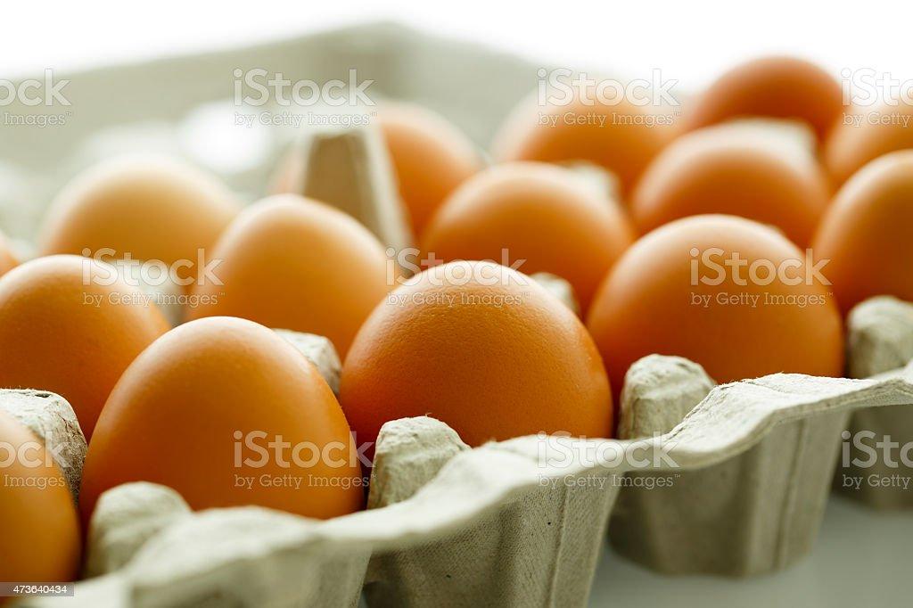 Brown Eggs in a Carton stock photo