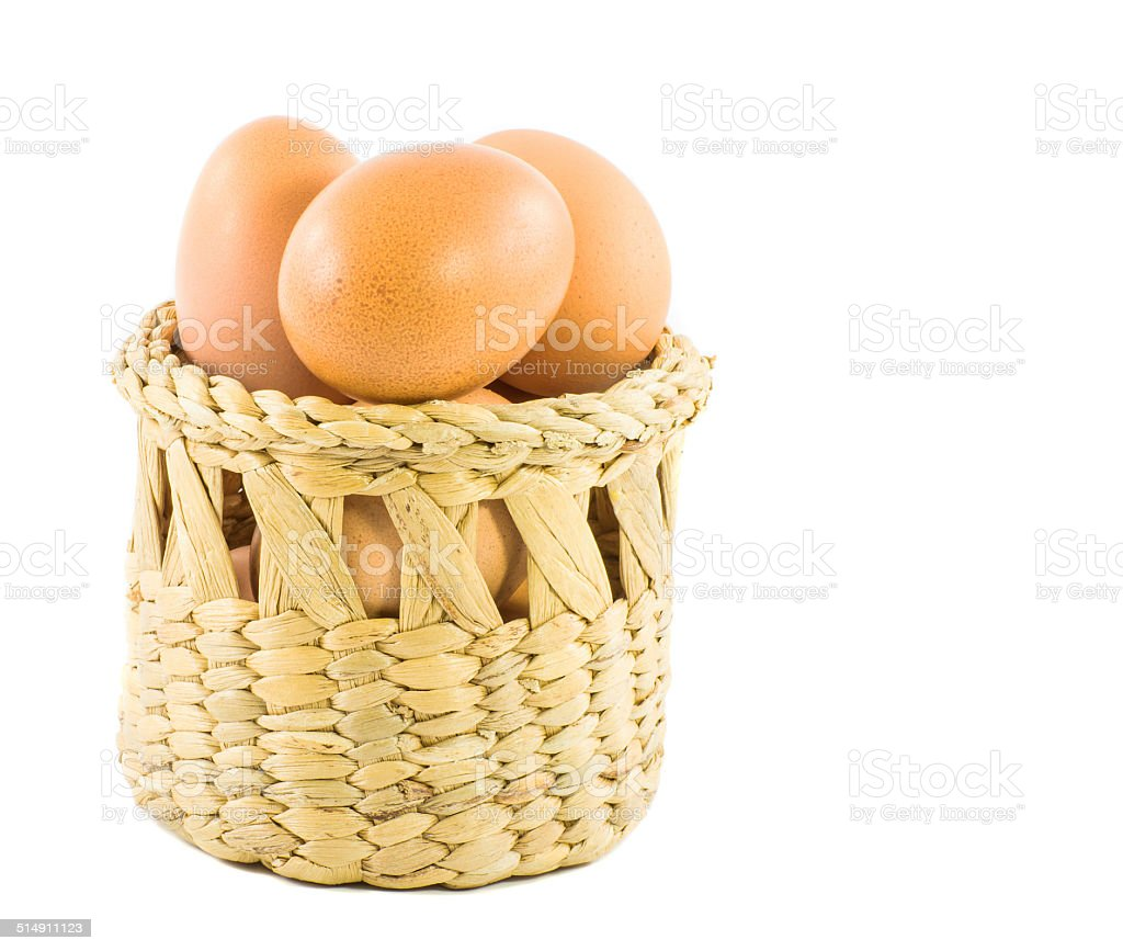 brown eggs in basket isolated on white stock photo