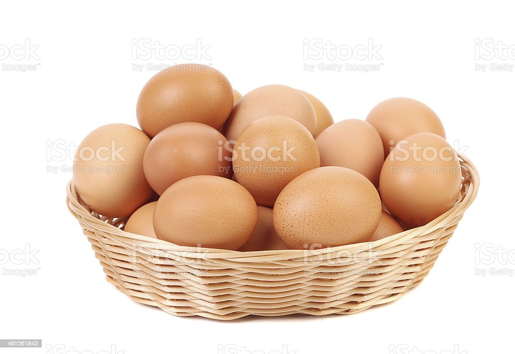 Brown eggs in the basket on a white. stock photo