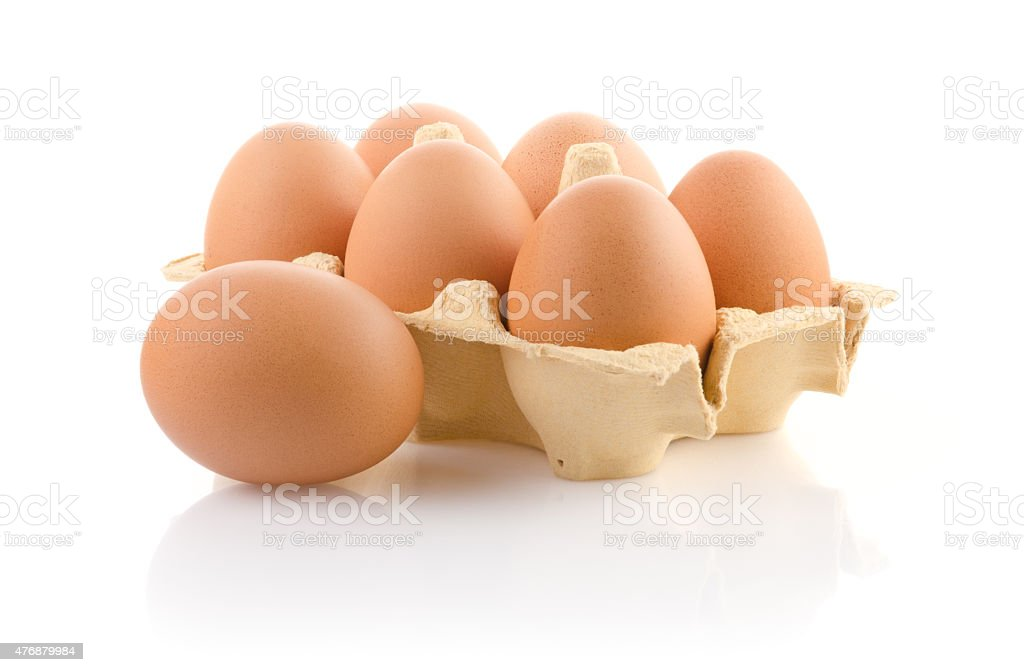 Brown eggs in the package stock photo