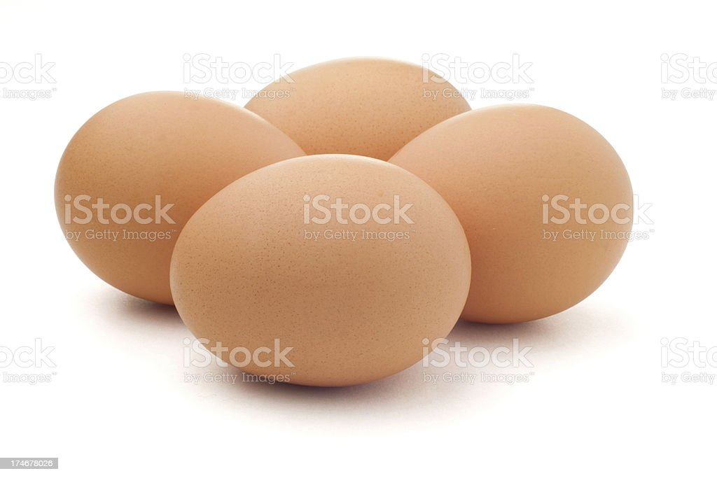 Brown Eggs on White with Clipping Path stock photo