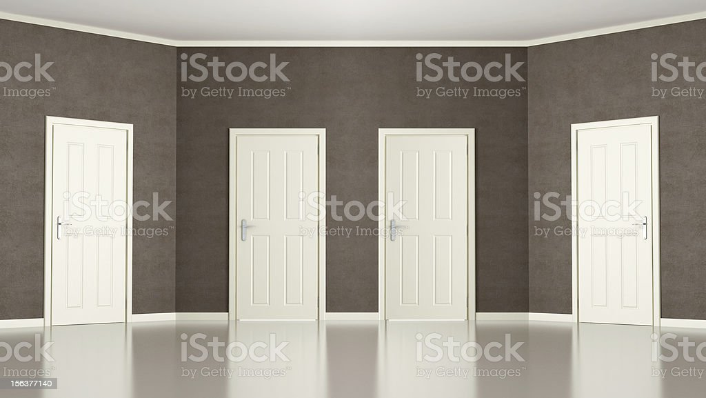 Brown Empty room with four doors stock photo