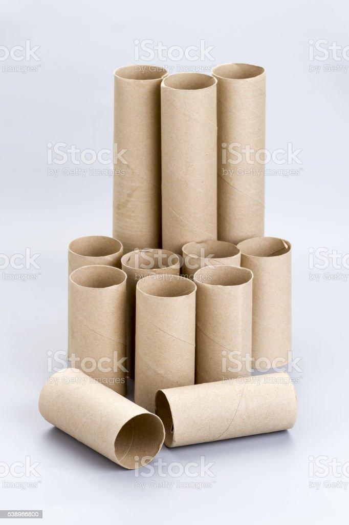 Brown empty toilet tissue paper rolls stock photo