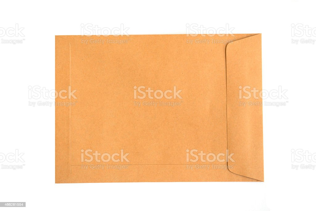 brown envelope isolate on white background stock photo