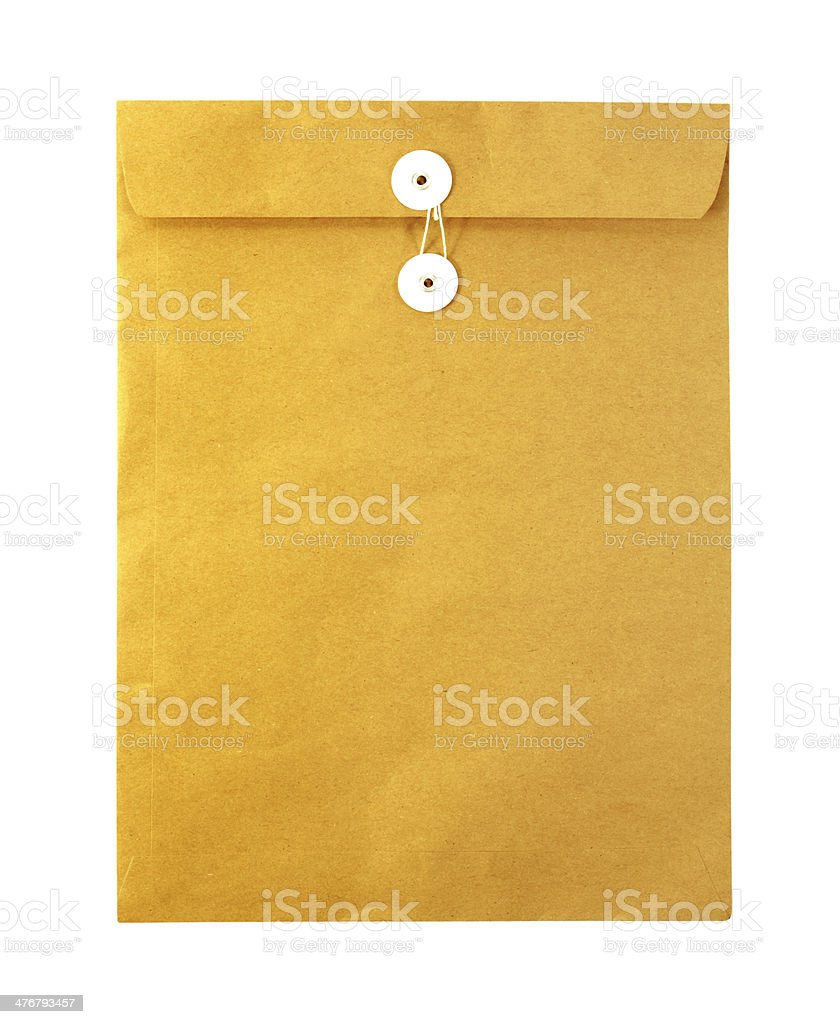 Brown envelope isolated on white background stock photo