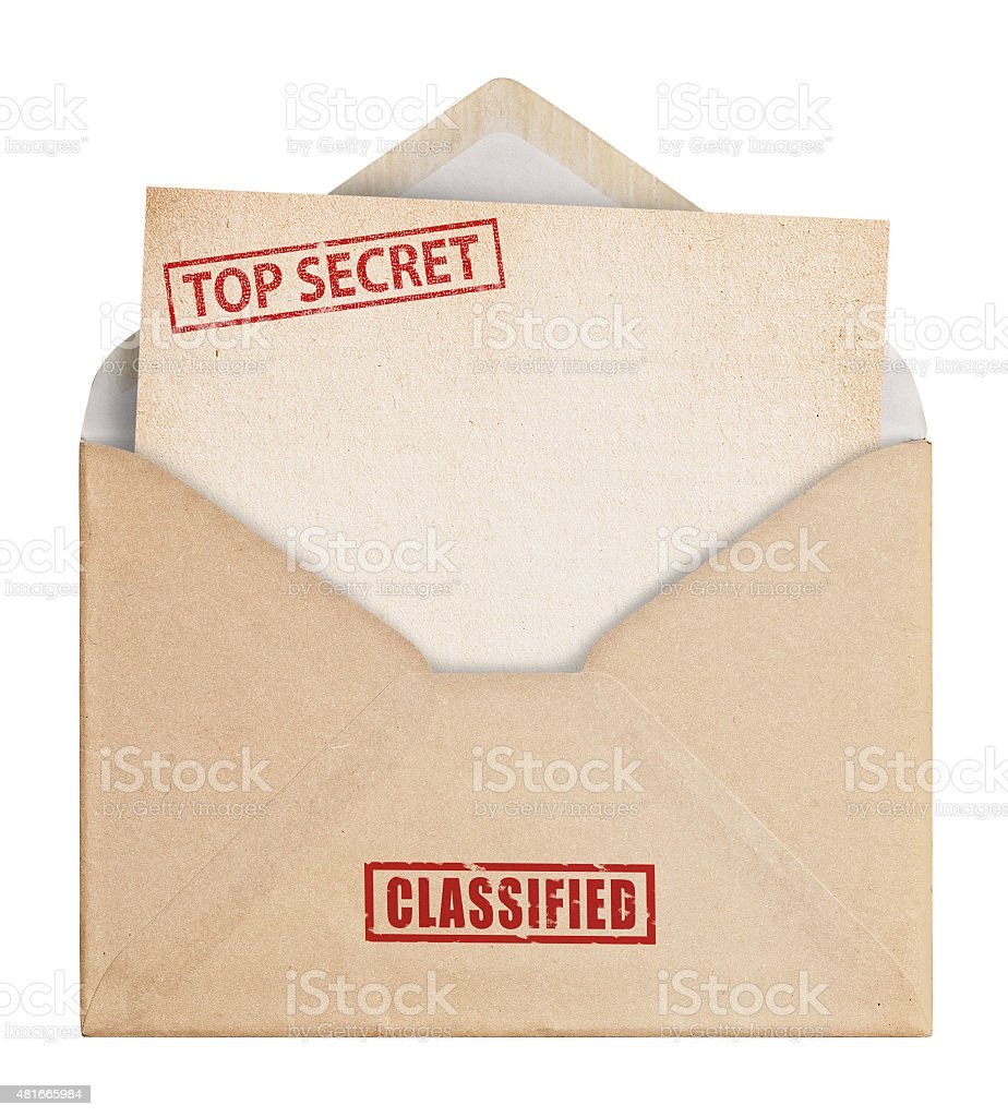 Brown Envelope with top secret stamp, clipping path. stock photo