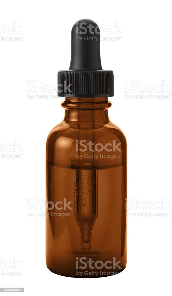 Brown Eye Dropper Bottle  with a clipping path stock photo