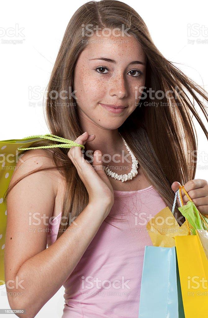 Brown Eyed Teen Girl Shopper stock photo