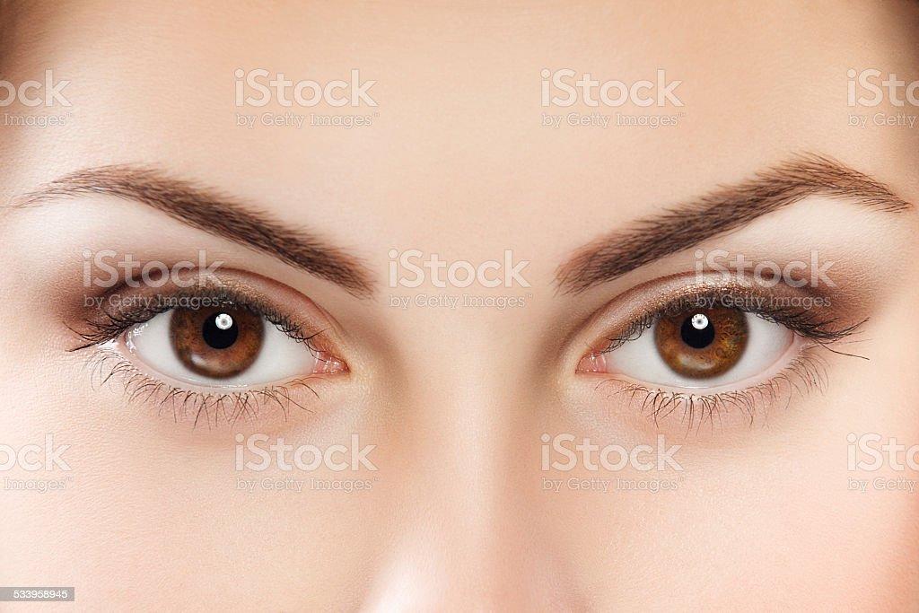 Brown eyes stock photo