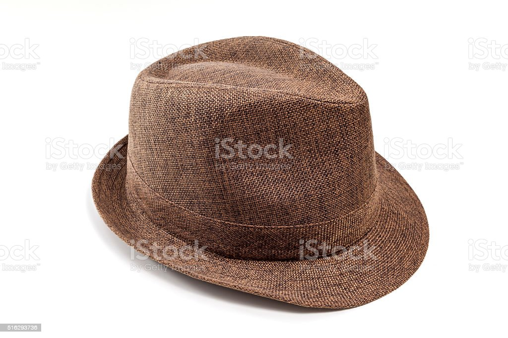 Brown fedora hat stock photo
