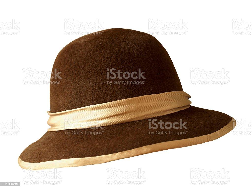 Brauner Pelz Hut mit beigem webstreifen Lizenzfreies stock-foto