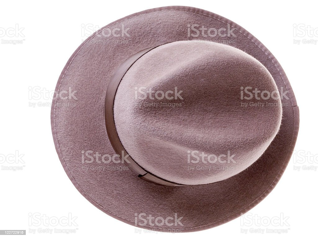 brown felt man's hat top view royalty-free stock photo