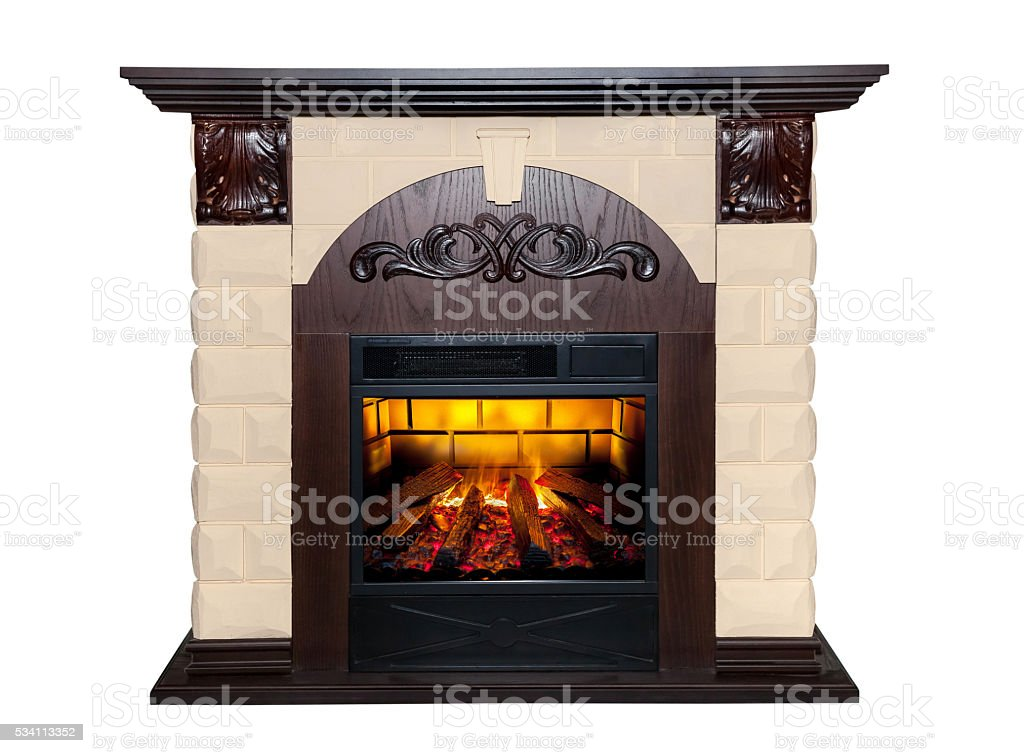 Brown fireplace isolated on white background stock photo