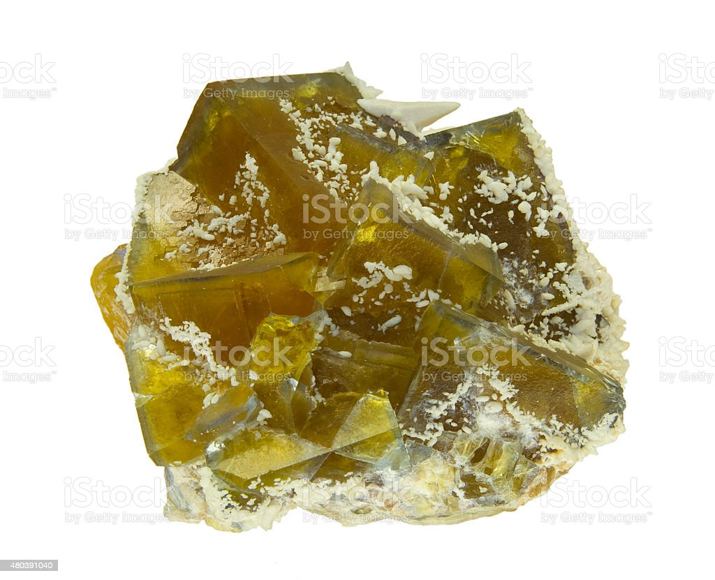Brown fluorite crystals with white calcite, isolated on white. stock photo