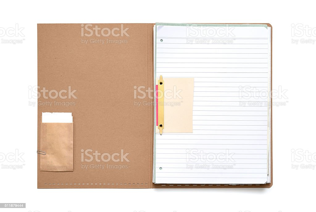 Brown Folder with Striped Paper stock photo