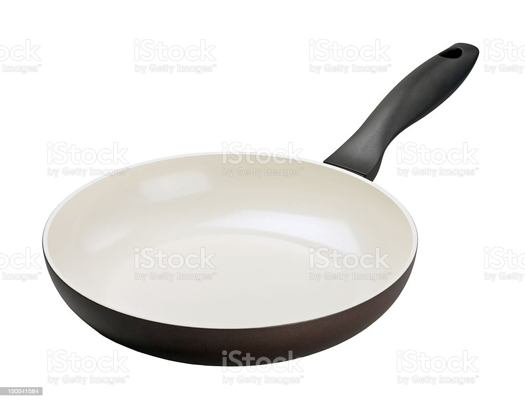 Brown frying pan with ceramic coating royalty-free stock photo