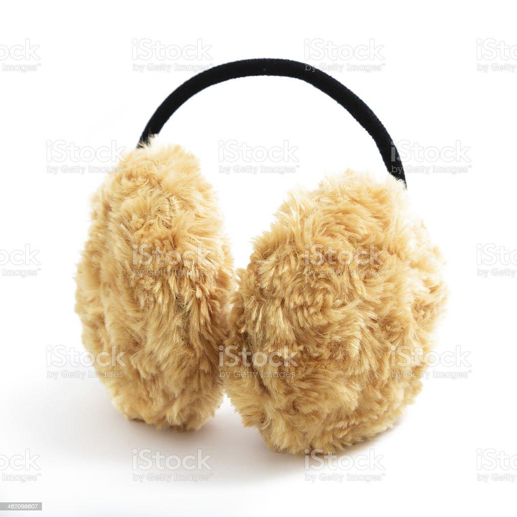 Brown Fuzzy Earmuffs stock photo