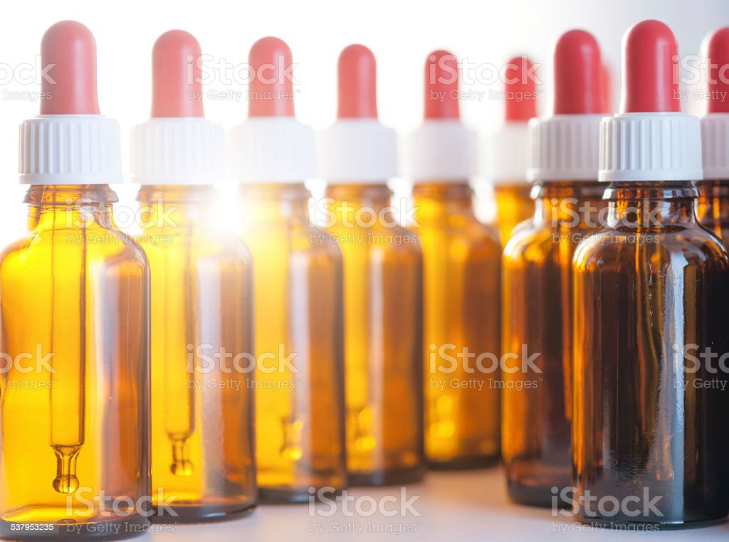 brown glas bottles  with dropper stock photo
