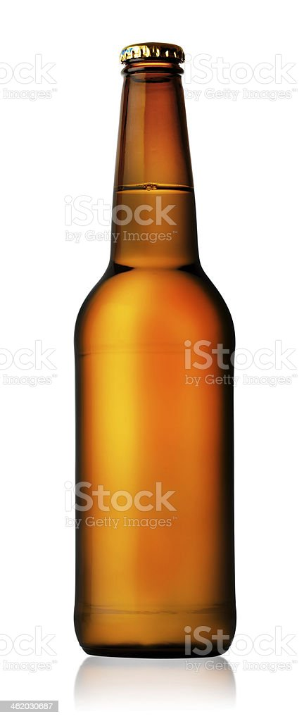 A brown glass beer bottle on a white background stock photo