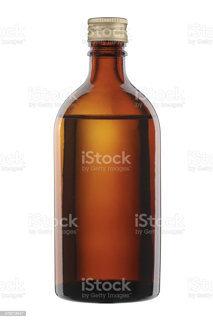 Brown glass bottle isolated on white background. royalty-free stock photo