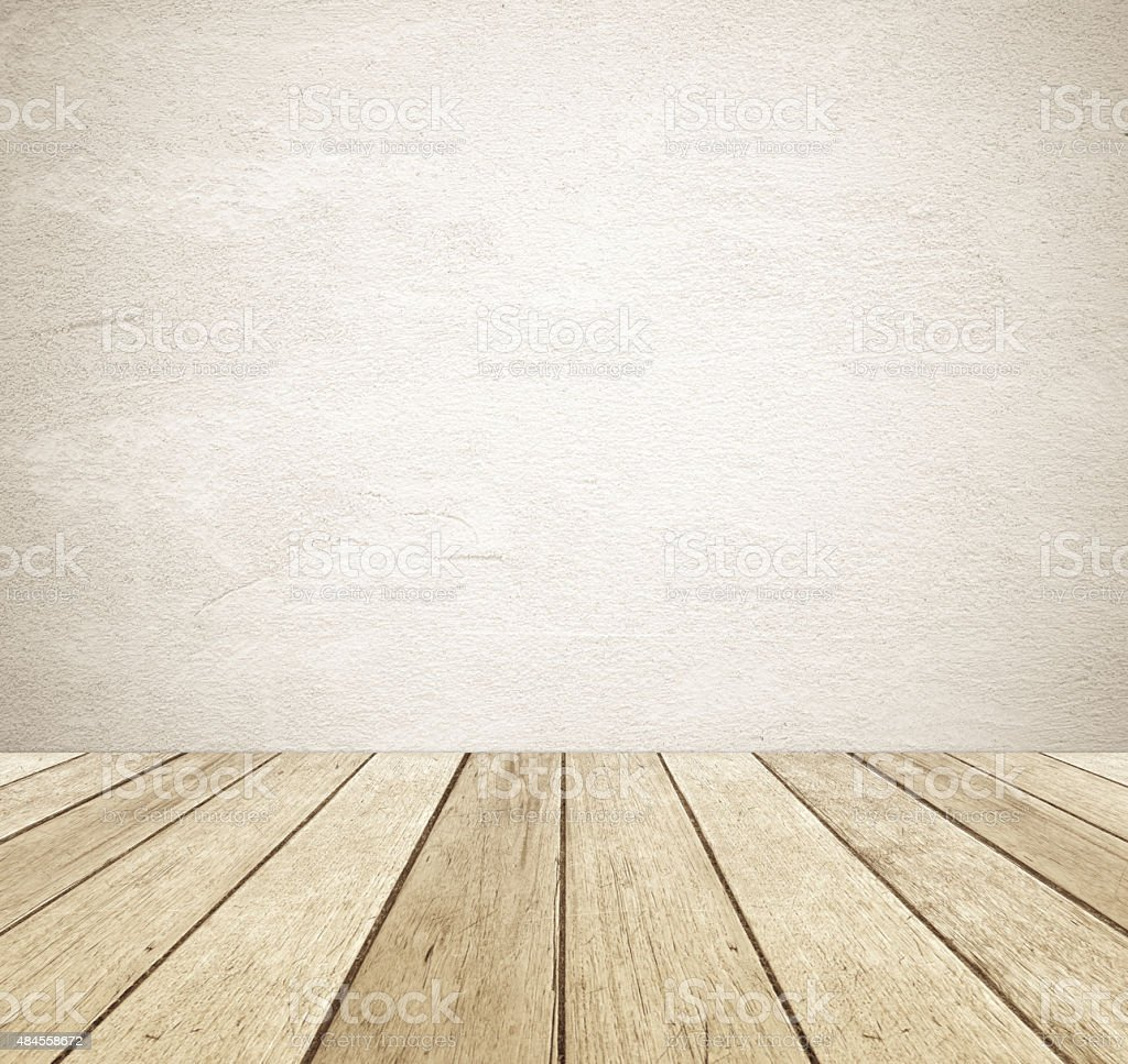 Brown grunge cement wall and perspective vintage wood background stock photo