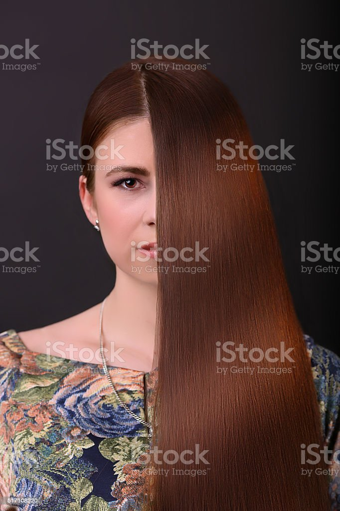 Brown Hair. Beautiful Woman with Healthy Long Hair royalty-free stock photo