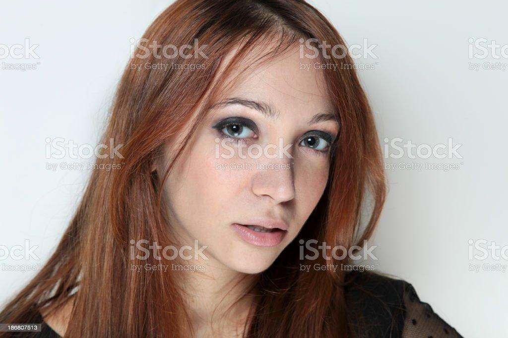 Brown Hair Caucasian Woman, portrait stock photo