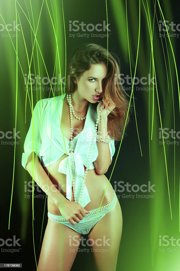 Brown hair woman looking at camera with abstraction royalty-free stock photo