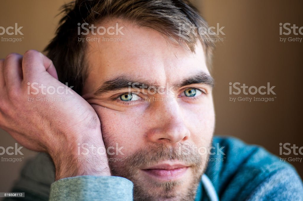 brown haired guy stock photo