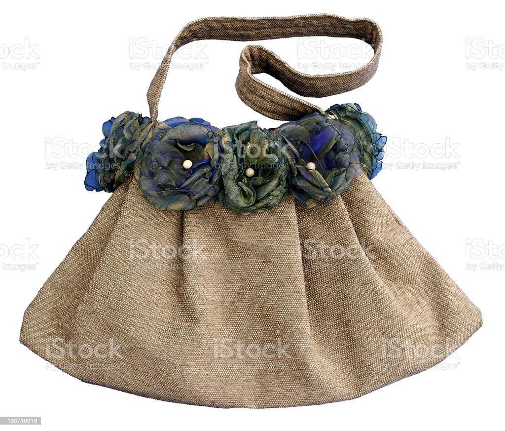 Brown handbag with beads royalty-free stock photo