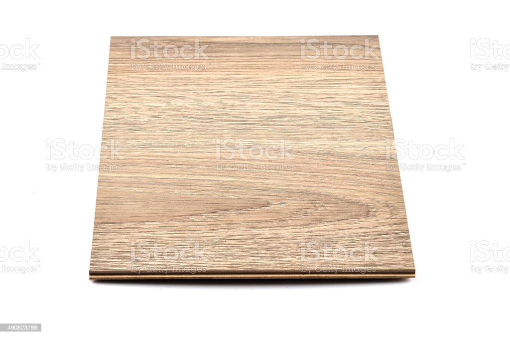 Brown Hardwood Tile on white Background Tilt Viewpoint stock photo