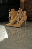 Brown high heels woman shoes