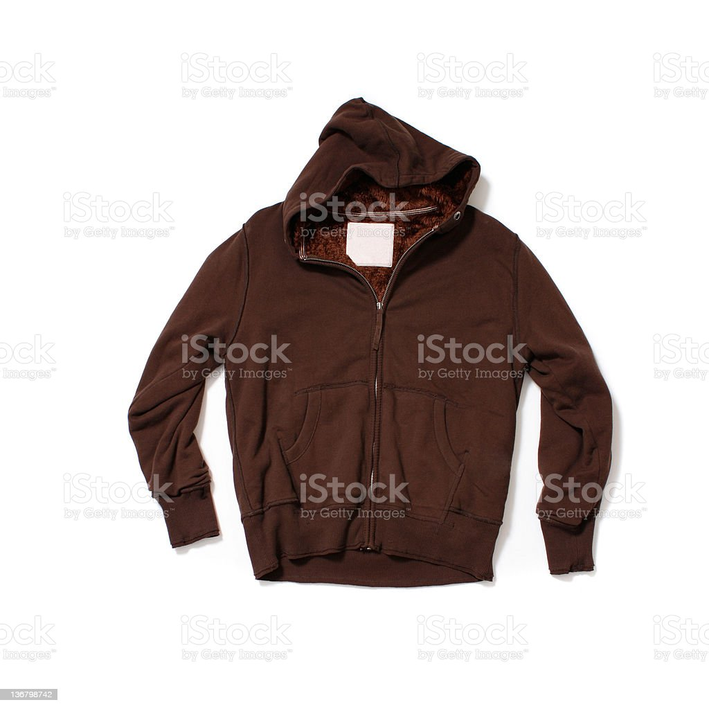 Brown Hooded-Sweatshirt on White Background stock photo
