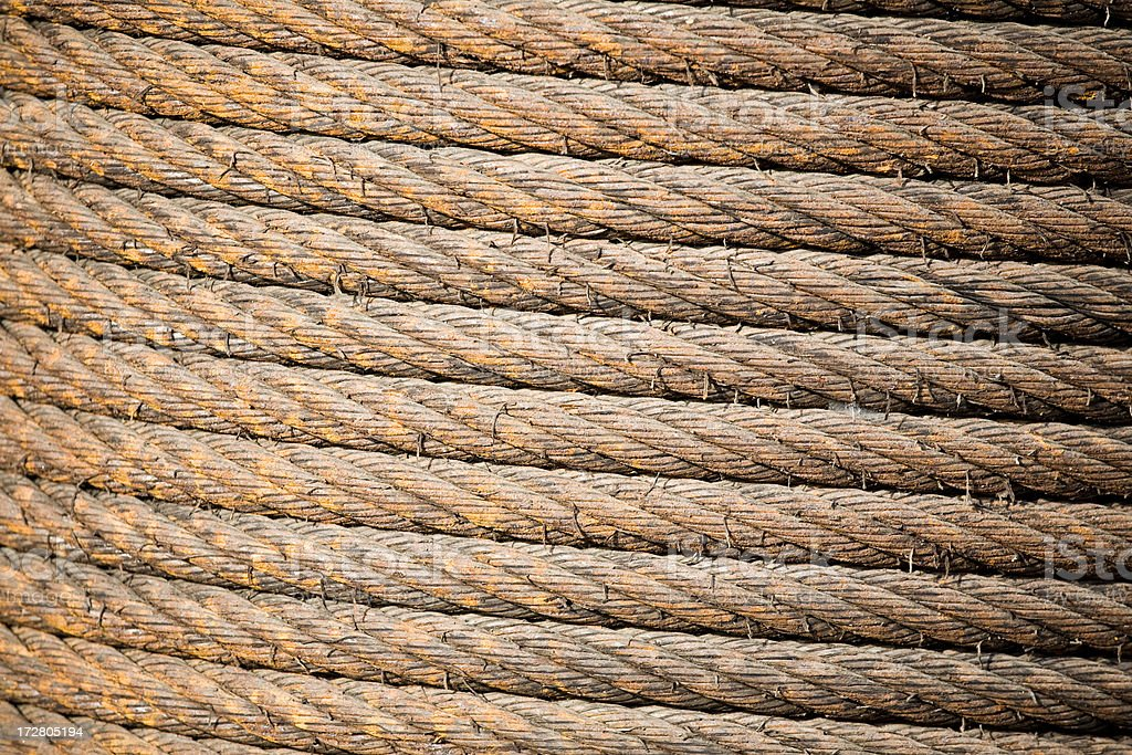 Brown industrial rope and cable royalty-free stock photo