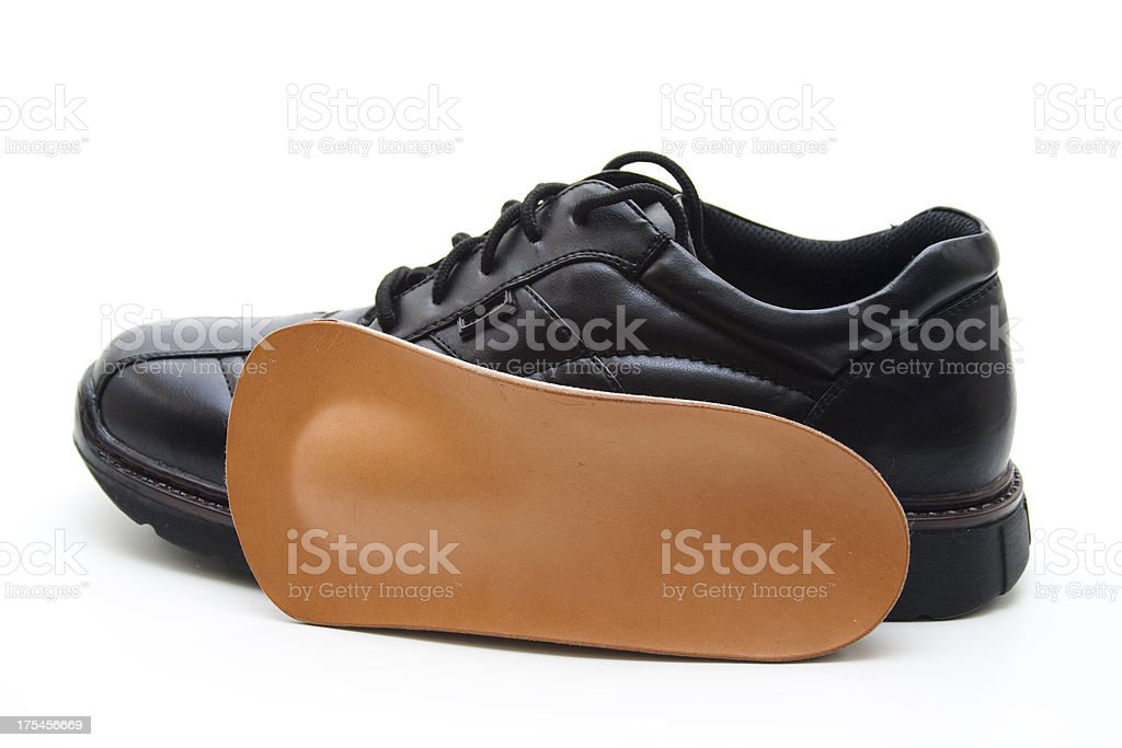 Brown insole with shoe stock photo