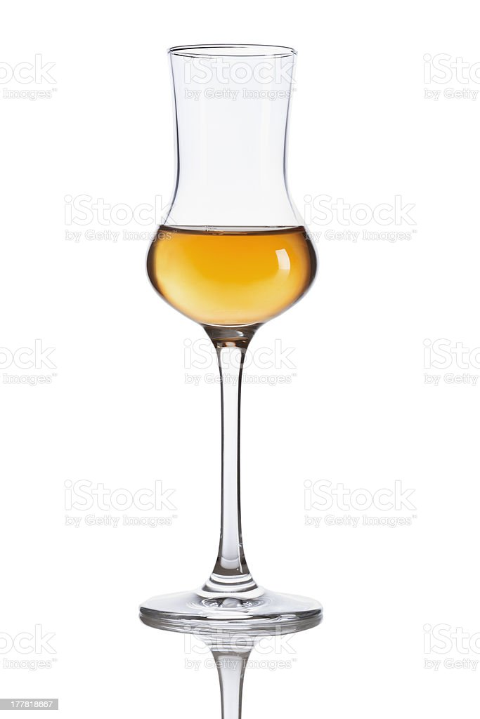 Brown Italian Grappa Brandy stock photo