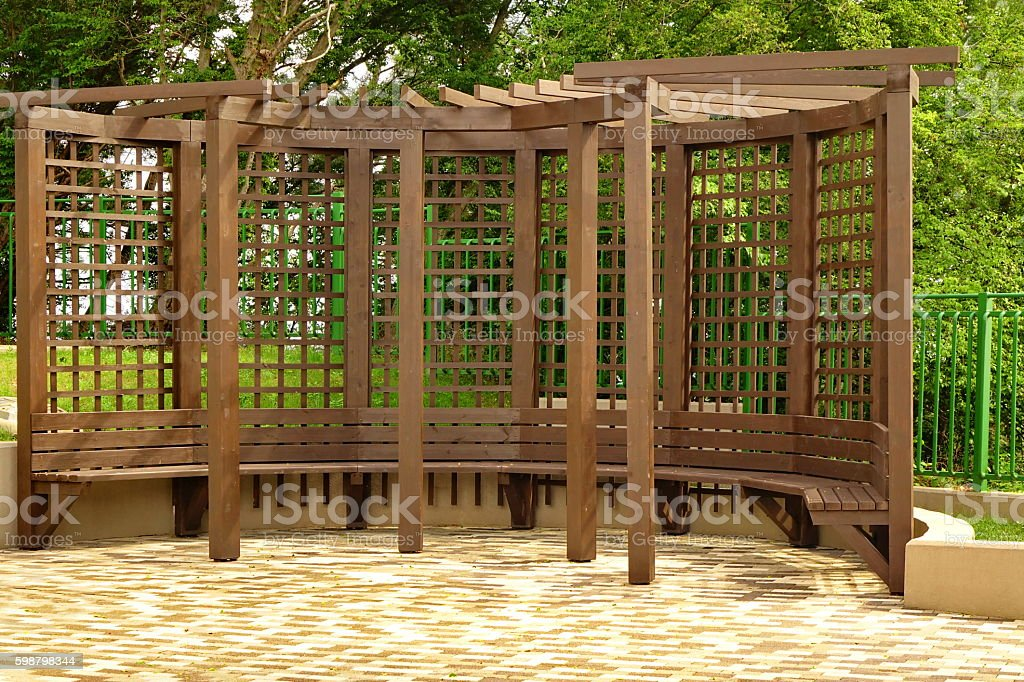 Brown Japanese Style Terrace Or Veranda In Park At Noon stock photo