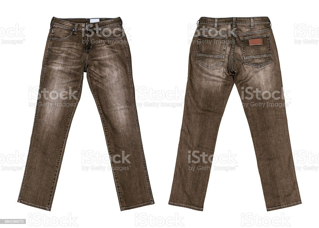 Brown Jeans Isolated on white background with clipping path stock photo