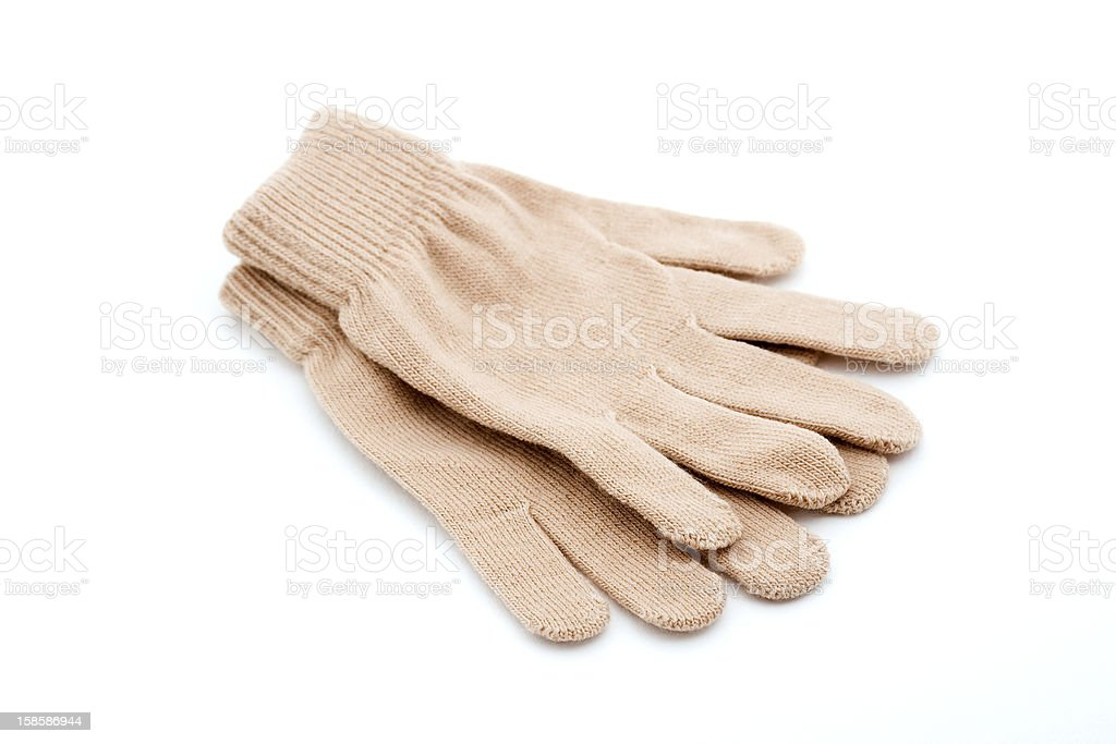 Brown knitted gloves royalty-free stock photo