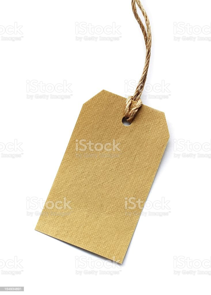 Brown label with loop on white isolated stock photo