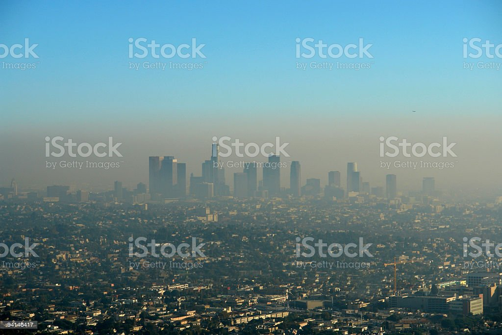 Brown Layer of Los Angeles Smog stock photo