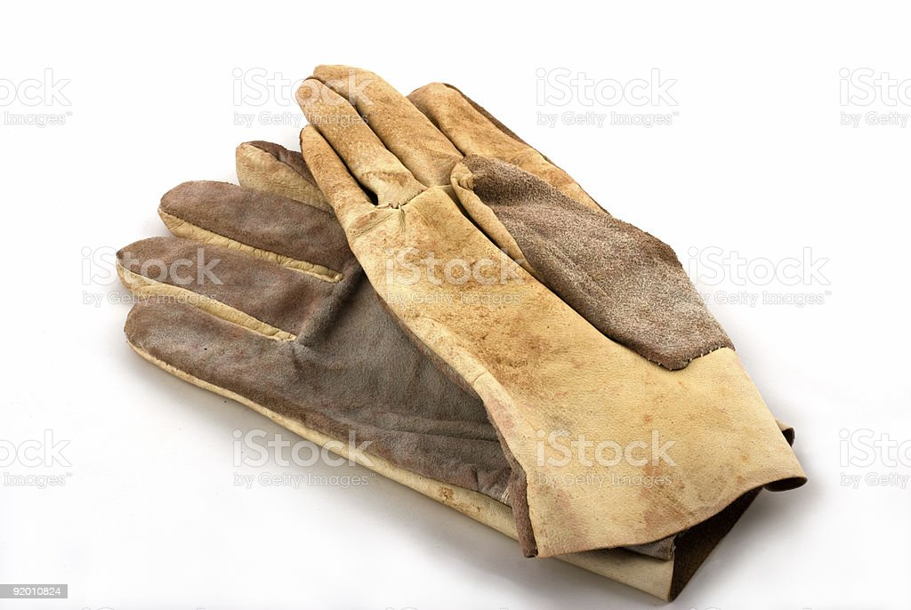 brown leathen working gloves royalty-free stock photo
