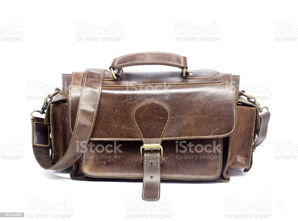 brown leather bag on white background stock photo
