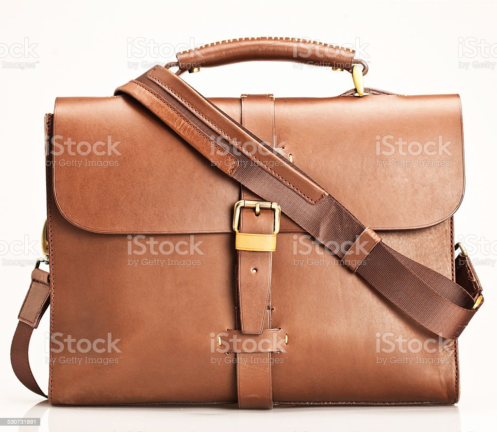 Brown leather bag stock photo