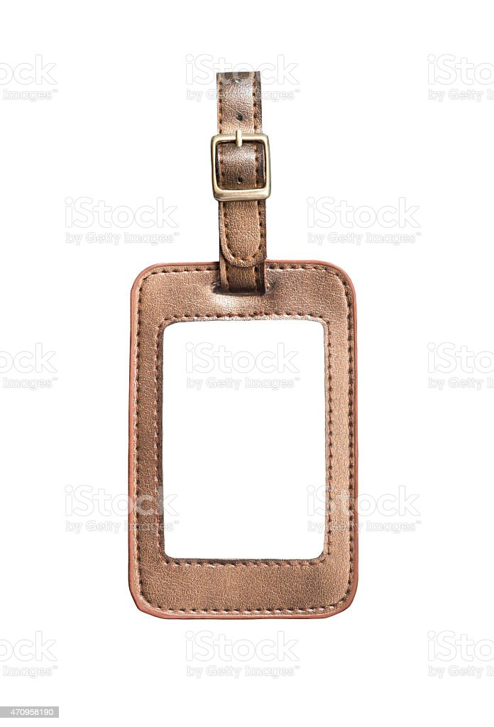 Brown leather bag sign stock photo