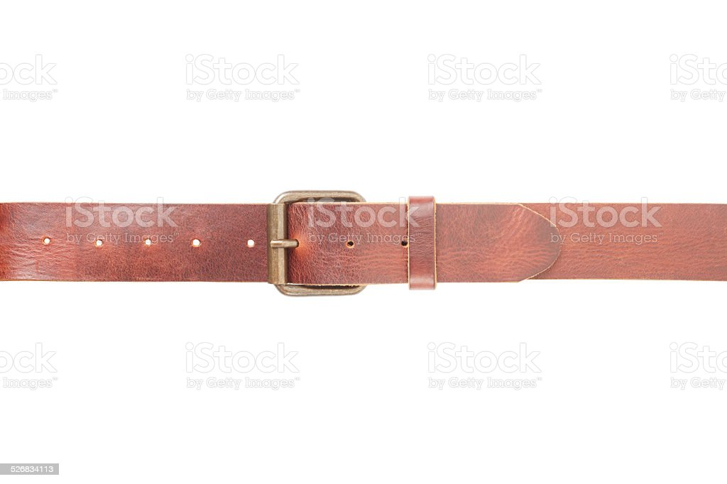 Brown leather belt fastened with buckle stock photo