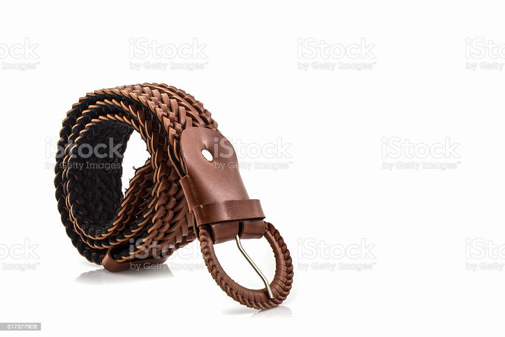 Brown leather belt for female. stock photo
