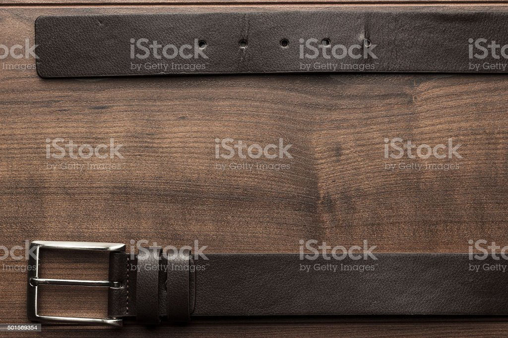 brown leather belt for men stock photo