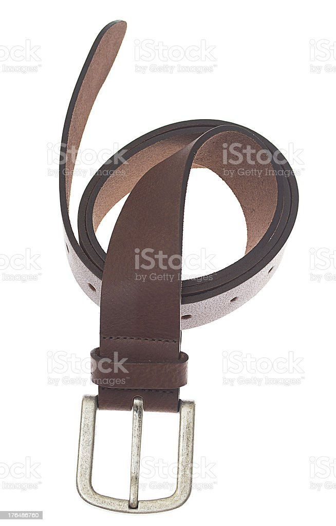 Brown leather belt isolated on white background royalty-free stock photo