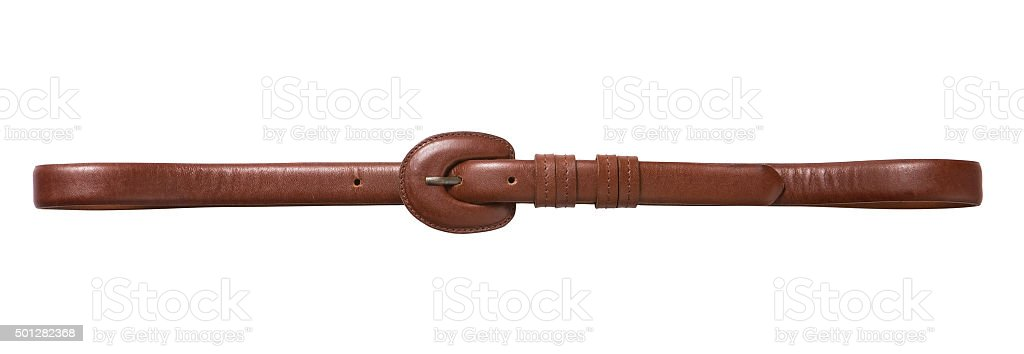 brown leather belt stock photo